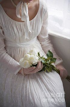 Regency Woman Holding A Bouquet Of White Roses by Lee Avison