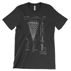 Lacrosse Patent T-Shirt.   100% Super Soft Combed and Ringspun Cotton Slightly Fitted Mens/Unisex Tee Feels and fits like a well-loved favorite tee Printed on super soft Bella Canvas Tee.  Available printed on Black, Red, White, or Gray T-Shirt. Sizes S, M, L, XL, 2XL, 3Xl, 4XL  **Please check sizing chart to determine your best fit (in product photos.)**  The shirt is digitally printed with water based inks for a soft feel.  Each shirt is printed just for you, so please allow 1-3 busine...