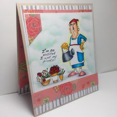 SC0650 Ai His Hers Gardeners from Art Impressions. Available at Michael's craft stores, window scene handmade card.