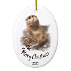 Custom Dated Christmas Watercolor Otter Animal Ceramic Ornament - merry christmas diy xmas present gift idea family holidays