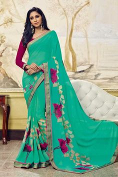 Aqua Green Georgette Saree with georgette blouse online  http://www.andaazfashion.co.uk/womens/sarees/georgette