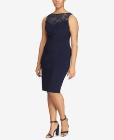 Lauren Ralph Lauren Plus Size Sterlettina Sequined-Yoke Sheath Dress - Lighthouse Navy 14W