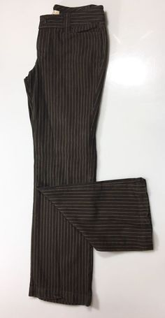 FREE PEOPLE Juniors Womens Casual Pants Size 5 / 100% Cotton Brown Striped  #FreePeople #CasualPants