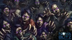Zombies card art by Gong Studios for the Nova Blitz trading card game. Play the demo at NovaBlitz.com/demo!