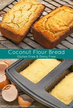 Coconut Flour Bread Recipe -  6 Organic Eggs, at room temperature,  1/2 Cup Coconut Oil, melted and cooled,  1 T Raw Honey (optional),   3/4 Cup Coconut Flour,    2 T arrowroot powder (optional, makes a lighter loaf),  1/2 Teas Sea Salt,  1 Teas Grain Free Baking Powder - oven 350 f 35-40 min