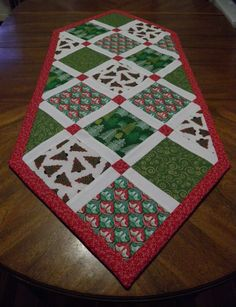 Christmas Quilted Table Runner Metallic Trees, Birds, Swirls! Reds and Greens! by MaterialGalCreations on Etsy