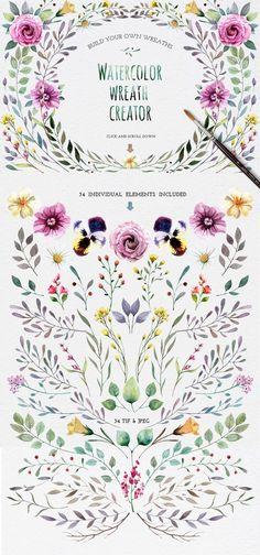 Watercolour elements | Wreath creator: