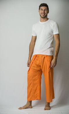 Unisex Thai Fisherman Pants in Orange