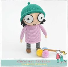 """Sarah is 23cm / 9"""" tall if using similar yarn. She is inspired from a famous children's programme called Sarah & Duck. You can now make your little ones happy by crocheting them a their very own Sarah cuddly soft toy.Skill Level: Easy / Intermediate Yarn: Double Knit Hook: 2mmThis is a 10 pages crochet pattern beautifully illustrated with clear easy to follow page by page details.Written in English using US terminology. There is a """"Crochet Conversion Chart (UK/..."""
