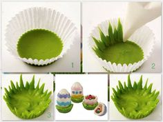 How to make Candy Grass - Tutorial Wouldnt this be so cute to sit a cupcake in?!