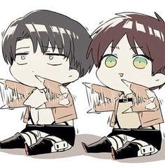 Rivaille (Levi) x Eren Jaeger. This has been my laptop background for a while no… Rivaille (Levi) x Eren Jaeger. This has been my laptop background for a while now ^_^ Anime Chibi, Chibi Eren, Naruto Chibi, Chibi Bts, Chibi Kawaii, Fanarts Anime, Cute Chibi, Anime Kawaii, Manga Anime