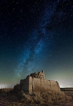 Sky looks like a mosaic Milky Way, Paredes de Nava, Palencia, Spain