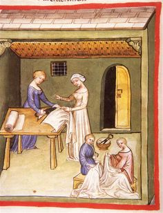 Tacuinum Sanitatis (ÖNB Codex Vindobonensis, series nova 2644), c. 1370-1400: (fol. 104v) linen clothing
