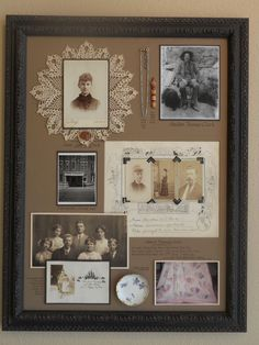 """A """"family history"""" Shadowbox Collage. We selected an assortment of important family heirloom objects, documents and photos and arranged them in a period style frame. All the objects were sewn into place, and the photos and documents were mounted using archival techniques in order to preserve these cherished items. 