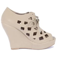 Yab Laser Cut Lace up Wedge -Taupe