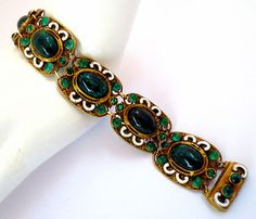 Antique Art Deco Czech Enamel Emerald Glass Cabochon Bracelet Czechoslovakian | eBay