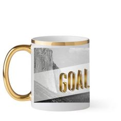 Goal Digger Type Mug, Gold Handle, 11 oz, White