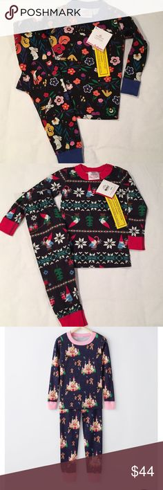 Hanna Andersson Brand New Pajamas—Size 80 (18-24M) Sz 80 (18-24M): 🦊🐇Midnight Garden (bunnies, foxes, mice, flowers on a black background)  🎁Gnome Sweet Gnome (gnomes, presents, sleighs on a navy blue background)  🏰Gingerbread Castle (gingerbread cookies, castles on a navy blue background with pink trim)  🐦Snowbirds (multi-colored birds wearing hats and scarves against a red background)  🚂🚞Full Steam (multi-colored trains against a royal blue background)  1 Set-$44 ea; 2 sets-$42 ea…