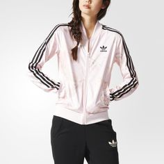 adidas Originals picks a garden of pretty-in-pink style to add to this  women's track jacket. Made in shiny pastel tricot, it shows off an allover  roses ...