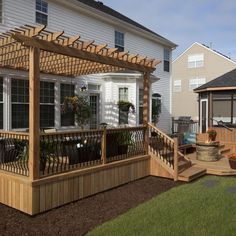 Deck Pergola Ideas Modern - Pergola Videos DIY Arch - Pergola Ideas Backyard With Lights - Pergola Terrasse Videos Rideau - - Outdoor Pergola With TV Deck With Pergola, Wooden Pergola, Backyard Pergola, Pergola Shade, Backyard Landscaping, Backyard Ideas, Pergola Ideas, Cheap Pergola, Patio Ideas