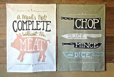 Meat and Knives Tea Towels
