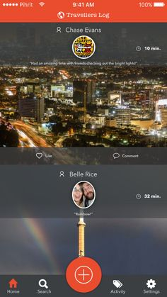 Mockup: Traveller's Log - Home Screen