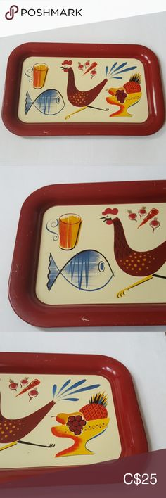 """Vintage 70s decorative metal tray Vintage decorative metal tray most likely from the 70s Makes a nice vanity tray, decoration, etc Burgundy edge Kitchen theme - chicken, fish, fruit Measures: 14"""" x 8 1/2"""" Vintage, some wear - see photos Vintage Accents Decor Vintage Pottery, Vintage Ceramic, Vintage 70s, Ceramic Rooster, Ceramic Birds, 70s Decor, Boho Decor, Book And Frame, Decorative Metal"""