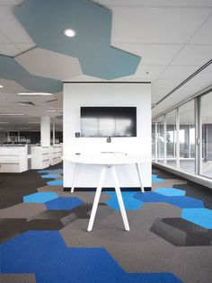 Hexagon installed in the Abbott Offices in Australia. #shawcontractgroup #hexagoncarpettile