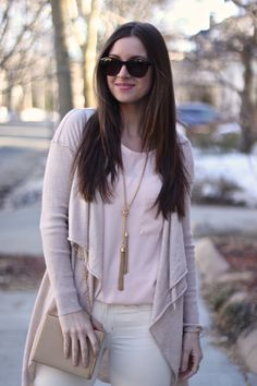 FabFound Peach Blouse, Oatmeal Cardigan by Tahari and Gold Tassel  Necklace