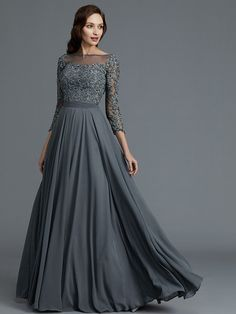 A-Line/Princess Sleeves Bateau Floor-Length Chiffon Mother of the Bride Dresses - Mother of the Bride Dresses - Hebeos Online Mother Of The Bride Dresses Long, Mothers Dresses, Blush Dresses, Pretty Dresses, New Trendy Dresses, Long Gown Dress, Illusion Dress, Gowns Of Elegance, Evening Gowns