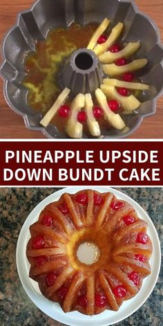Pineapple Upside Down Bundt Cake Looking for something a little different to make for the holidays? This Pineapple Upside Down Bundt Cake is super easy to make and everyone will love it! Köstliche Desserts, Delicious Desserts, Dessert Recipes, Yummy Food, Tasty, Pineapple Upside Down Bundt Cake Recipe, Pineapple Pound Cake, Bunt Cakes, Cake Mix Recipes