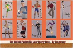 Mod The Sims - Ten Simlish Posters for your Sporty Sims
