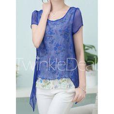Short Sleeve Scoop Neck Floral Print Women's Faux Twinset Blouse