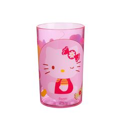 Hello Kitty glass Hello Kitty  Thought for children, adapted to their needs, this joyful Hello Kitty glass will delight your child. Lightweight, sturdy and washable, this glass is a real asset guaranteeing smile and serenity for parents.   Collection : Hello Kitty (Jelly Bean)  Dimension : ø. 6,5  H. 10,5 cm  or  ø. 21/2  H. 41/4 inches  Capacity : 225 ml  or  8 oz  Material : acrylic  Stackable glass  Dishwasher safe  http://trend-on-line.com/brand/hello-kitty/verre-hello-kitty-1566