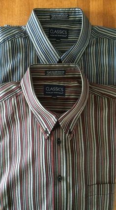 Falcon Bay Men's Shirts - Lot of 2 Size 2XLT XXL Tall Blue Stripes & Red Stripes #FalconBay #ButtonFront