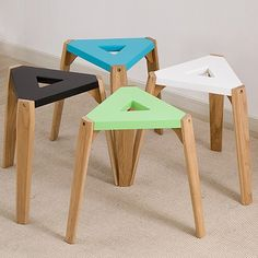 Wood Stool, Simple Furniture, Inspiration Boards, Bar Stools, Solid Wood, Triangle, Minimalist, Creative, Modern