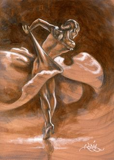 Paso Doble Study acrylic on paper Korál Seattle, 2009 Dance Paintings, Paintings I Love, Dance Art, Cool Pictures, Carving, Statue, Studio, Illustration, Ballerinas