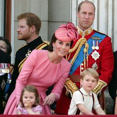 The British Royal Family celebrates Trooping The Colour 2017: Prince Harry, Catherine Duchess of Cambridge, Princess Charlotte, Prince William The Duke of Cambridge and Prince George