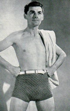 Items similar to Mens knitted swimming, bathing trunks, shorts, vintage knitting pattern pdf email delivery on Etsy vintage knitting pattern mens swimming trunks, beach shorts pdf- loving the knitted texture here and they have a k. Vintage Knitting, Vintage Crochet, Mens Onesie, Knitting Humor, Vintage Swimsuits, Man Swimming, Knit Fashion, Vintage Men, Vintage Trunks