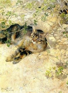 Bruno Andreas Liljefors (1860-1939, Swedish) - THE GREAT CAT