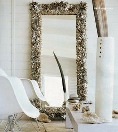 Abalone shell mirror designed by Reinette Katzoff info@reinette-katzoff.com Oversized Mirror, Shells, Abalone Shell, Interior Design, Furniture, Bathroom, Google, Home Decor, Environment