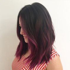 Trendy hair color ideas for brunettes balayage purple dip dye Ideas - Balayage Brunette, Balayage Hair, Ombre Hair, Magenta Hair, Hair Color For Black Hair, Funky Colored Hair, Dip Dye Hair, Dye My Hair, Pink Hair Tips