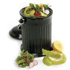 Compostio Black Ceramic Counter Top Compost Pail