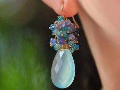 Hey, I found this really awesome Etsy listing at https://www.etsy.com/listing/274970676/blue-chalcedony-cluster-earrings-aqua