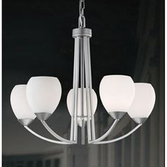 Bring a little illumination to any room in your home with a contemporary chandelierLighting features white glass shades for soft and diffuse lightHome decor offers a spray-painted satin nickel finish