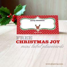 Freebies: Christmas Joy Red Reindeer Mini Labels Placecards | Jinjerup