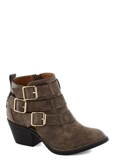 Contemporary Kick Bootie in Rustic Brown   Mod Retro Vintage Boots   ModCloth.com