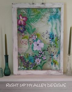 Old Painted Window, Vintage Window, French Stencils, Pastels,Shabby Chic by RightUpMyAlleyDesign on Etsy