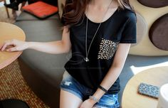 Casual Style Scoop Neck Pocket Splicing Sequins Embellished Short Sleeves Cotton T-Shirt For Women (BLACK,ONE SIZE) China Wholesale - Sammydress.com