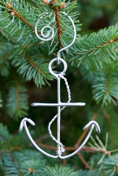 Nautical Anchor Christmas Ornament Made with Wire.